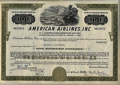 $100 American Airlines, INC. Bond Certificate Stock