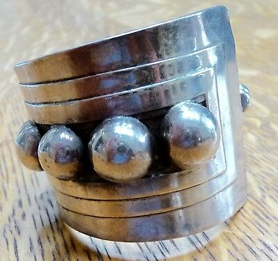 Vintage Taxco Mexico Sterling Silver .925  Cuff Bracelet  Modernist  Signed Eac