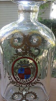 Vintage Glass Decanter Hand Painted Gold Red Crown~ No Stopper ~ Portugal