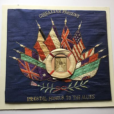 Authentic WWI Hand Stiched Gibraltar Present With Allies Flags