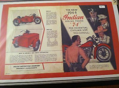 Vintage 1944 Indian Chief Motorcycle Poster Man Cave Garage Art Sidecar