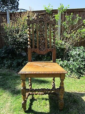 Stunning Antique Carved Oak Hall Chair with Barley Twist Legs
