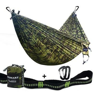 Nylon Portable Outdoor Double Camping Hammock with Carabiners & Straps 600lbs