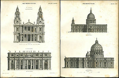 2 Antique prints of ST PETERS ST PAULS CATHEDRALS copper plate engravings - 1842