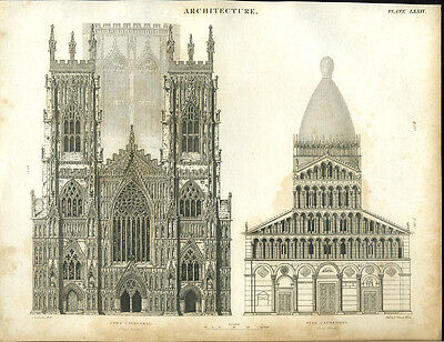 Antique print of YORK AND PISA CATHEDRALS copper plate engraving - 1842