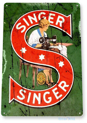 TIN SIGN: PGB247 Singer Sewing Machine Tin Metal Sign Retro Collectible Decor
