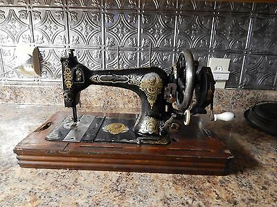 *gritzner*hand Crank Sewing Machine*circa Late 1800's*lions Face!rare