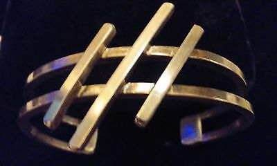 Stunning!! Thick & Heavy Solid Sterling Silver Modernist Geometric Cuff Signed