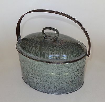 RARE American Gray Graniteware BUTTER CARRIER