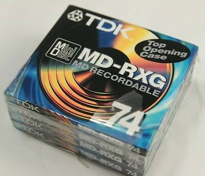 4 x TDK Minidisc MD-RXG Recordable Top Opening Case MD-RXG74EB