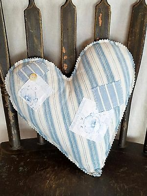 Vintage Blue Ticking Heart Pillow Decoration Blue Striped Patchwork