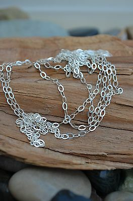 Unfinished STERLING SILVER CHAIN - Oval Flat Link  - BULK - 0.925- Made in Italy