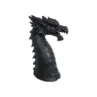 Large Gothic Styled Black Dragon Bust Ornament Figurine Decor