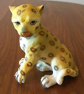 Snow Leopard Cub Statue Wild Animal Figurine Spots Tiger Cat