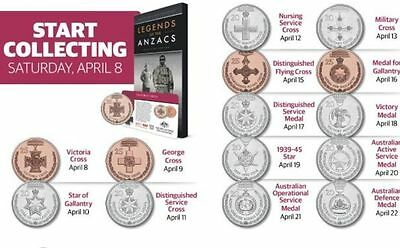 2017 Legends of the Anzacs Medals Full Coin Set Collection Coins + Album