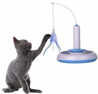 TAONMEISU and trade; Cute Kitten Cat Feather Toy Electric Rotating Toy Cat Play