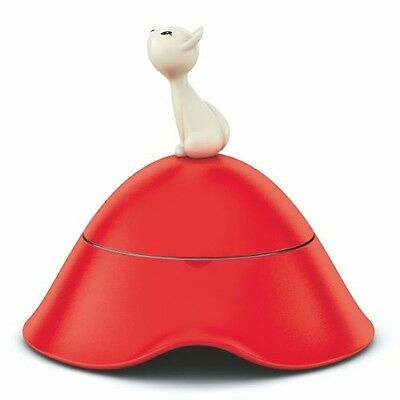 A Di Alessi Mi Cat Bowl With Lid In 18/10 Stainless Steel and Red Thermoplastic