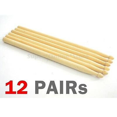 12 Pairs Wooden Drum Sticks 5A Maple Wood Tip Set Drummer Music Instrument - NEW