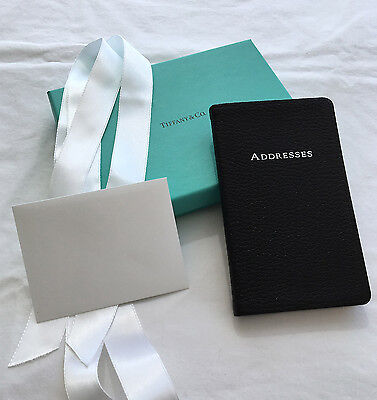 Tiffany & Co New w/Box Black Leather Address Book Gilt Silver Edges