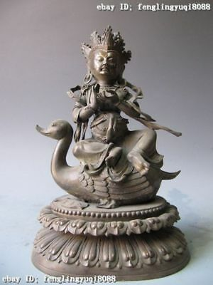 Tibet 100% Pure Bronze Carved GuanYin Kwan-yin Buddha Rride on duck Statue