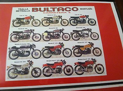 Vintage Bultaco Evolution motorcycle Poster Man Cave Garage Art Fathers Day