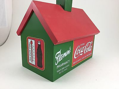 Collectible Coca-Cola Recipe Box Wooden House With Removeable Roof Inc Dividers