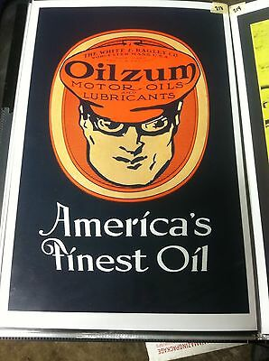 Vintage Oilzum Motor Oil Poster Man Cave Garage Art Fathers Day