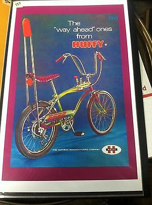 Vintage Huffy Bicycle Poster Man Cave Garage Art Fathers Day