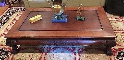 "Antique Chinese hand Carved Rosewood coffee Table Late Qing Dynasty 60""x36""x14"""