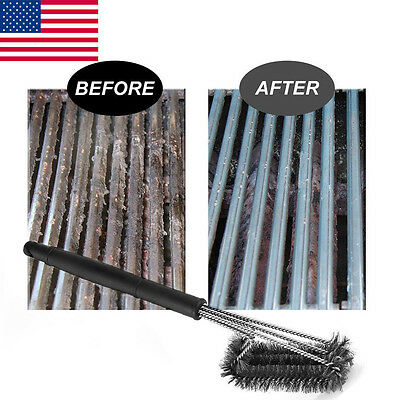 "2017 18"" BBQ Grill Brush Barbecue Grill Cleaner Handle Woven Wire Cleaning Brush"