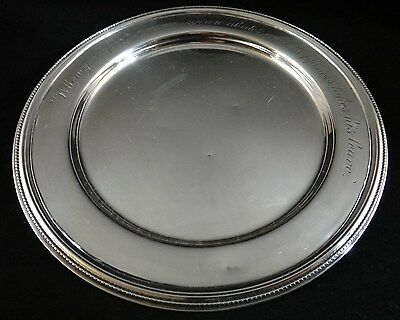 19th c.Sterling Silver Mottoware Plate, Peter L. Krider & Co., Finely engraved.