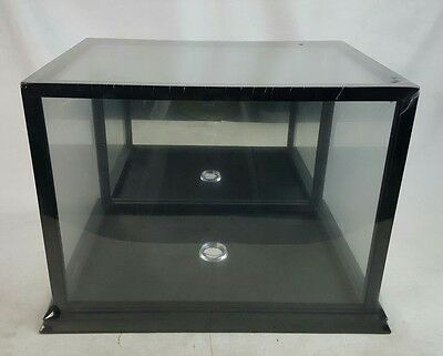 Large Mirror Back Glass Top Display Stand  Case Box Wood Base black