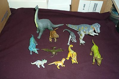 Lot of 10 Vintage PVC & Plastic Dinosaurs Safari UKRD T-Rex and More!