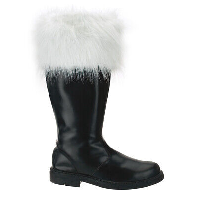 Mens Santa Claus Christmas Costume Shoes Black Winter Boots Fur