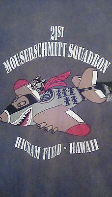 Kliban Cat Collectible T-shirt Mouserschmitt Squadron Hickam Field - L - RETIRED