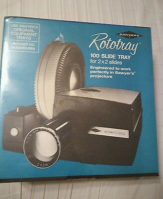 Sawyer's Rototray Projector 100 Slide Tray For 2 X 2 Slides NEW In Box Vintage
