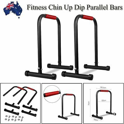 Fitness Chin Up Dip Parallel Bars Stand Push Equaliser Cross Training Excrise AU