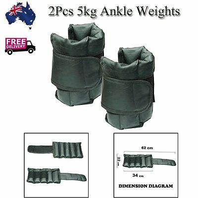 2Pcs 5kg Ankle Weights Fitness Adjustable Gym Training Wrist Yoga Workout  AU