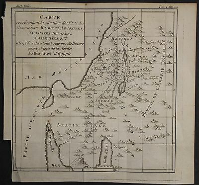 Israel Palestine Holy Land 1780 Brion De La Tour Antique Copper Engraved Map