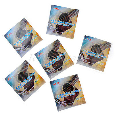 6 Sets Plated Steel Acoustic Guitar Colorful Strings 011/.052