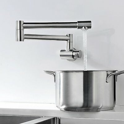 Wall Mounted Bathroom Kitchen Faucet Single Handle Cold Sink Tap Brushed Nickel
