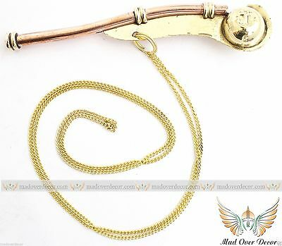 Brass / Copper  Bosun Call w/ Box ~ Boatswains Whistle ~ Nautical Maritime Pipe