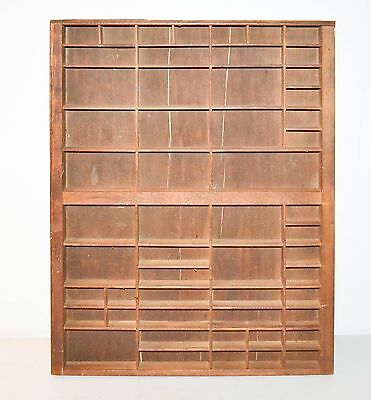 antique wood printers tray typeset drawer case