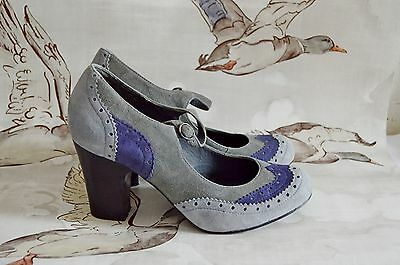 OFFICE 1940's 30's STYLE vintage BROGUE mary jane heels SHOES blue GREY UK 6 39