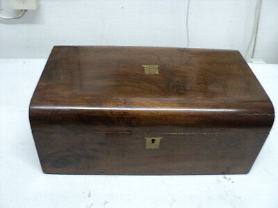 Large Victorian Walnut Writing Slope Box With Secret Departments Dated 1892