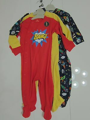 New Baby Boys Blue Red Yellow NEXT Babygrows Age 12-18 Months