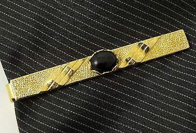 NICE Tie Clip Bar Clasp Gold Tone Black Center Oval Stone