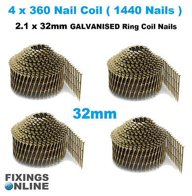 Coil Nails (conical)Galvanised 2.1 g x 32mm (4 x coils 1440 nails), Hitachi, Max