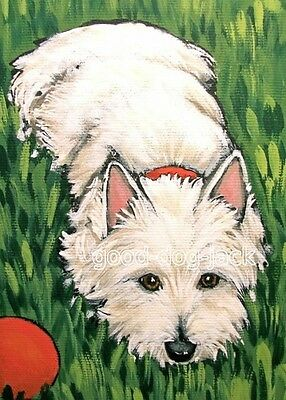 """West Highland Terrier ACEO WESTIE PRINT Painting """"Relaxing in the Grass"""" RANDALL"""