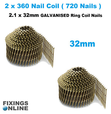 Coil Nails (conical)Galvanised 2.1 g x 32mm (2 x coils 720 nails), Hitachi, Max